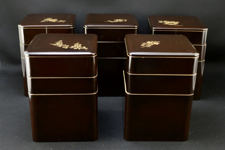 輪島塗図変草花蒔絵弁当箱五個組&菓子箱 / Wajima-lacuqered 'Bento(Lunch)'Boxes set of 5 & Sweet box