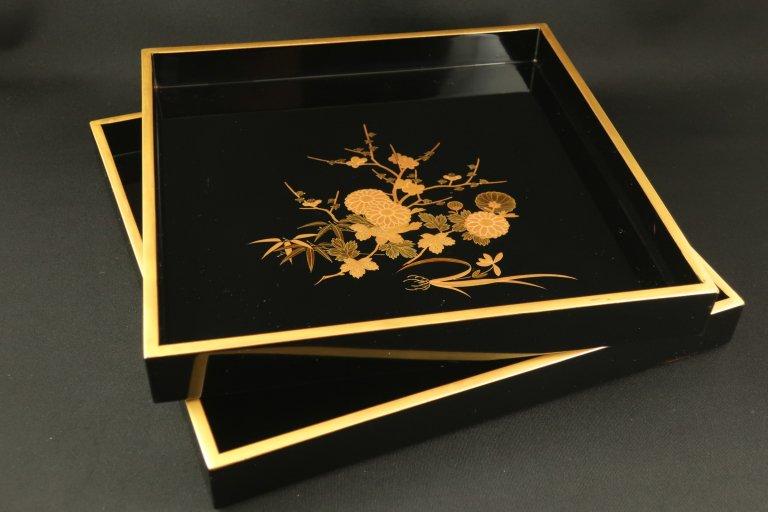 黒塗四君子蒔絵入れ子角盆 二枚組 / Black-lacquered Square Trays  set of 2