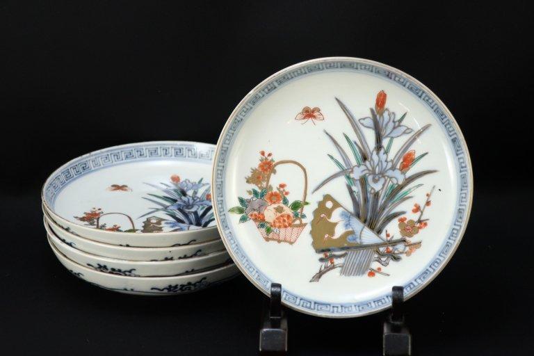 伊万里色絵菖蒲文五寸皿 五枚組 / Imari Polychrome Plates with the picture of Iris  set of 5