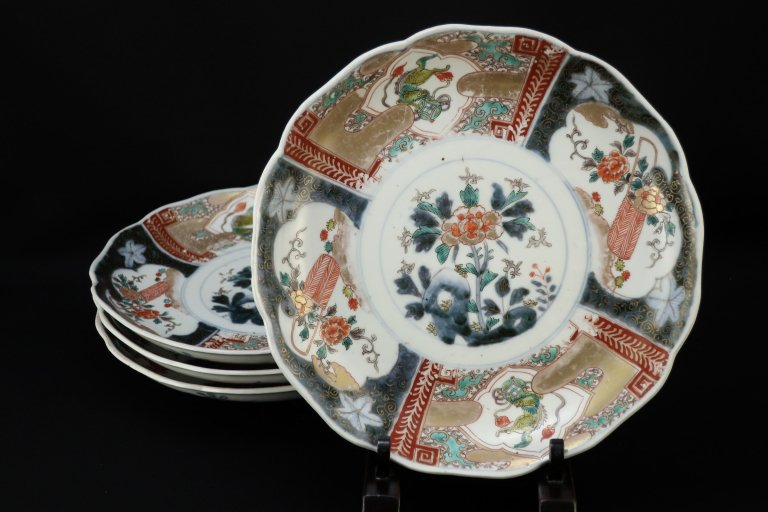伊万里色絵獅子花籠文七寸皿 四枚組 / Imari Polychrome Plates  set of 4
