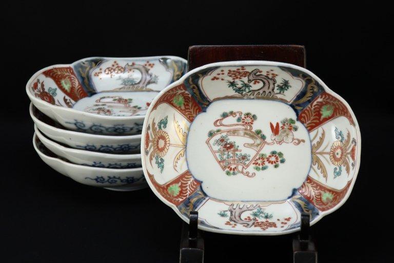 伊万里色絵扇面兎文変形向付 五客組 / Imari Polycorme 'Mukoduke' Bowls wit the picture of Fan and Rabbit  set of 5
