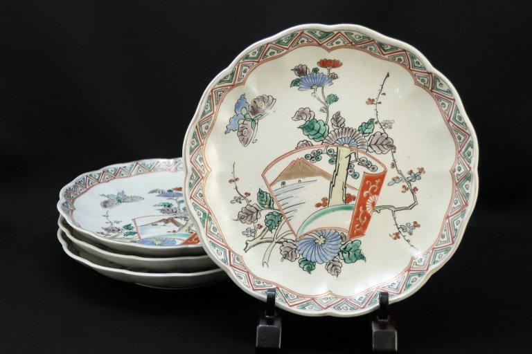 伊万里色絵花蝶文七寸皿 四枚組 / Imari Polychrome Plates  set of 4