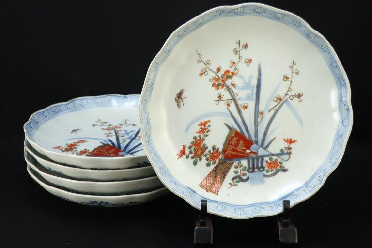 伊万里色絵扇面四君子文七寸皿 五枚組 / Imari Polychrome Plates  set of 5