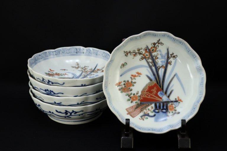 伊万里色絵扇面四君子文なます皿 五枚組 / Imari Polychrome 'Namasu' Bowls  set of 5