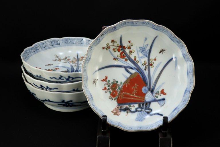 伊万里色絵扇面四君子文なます皿 四枚組 / Imari Polychrome 'Namasu' Bowls  set of 4