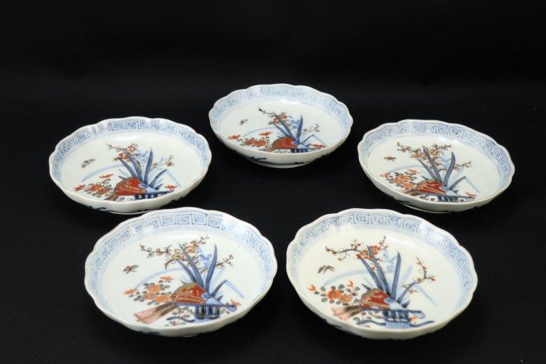伊万里色絵扇面四君子文四寸皿 五枚組 / Imari Small Polychrome Bowls  set of 5