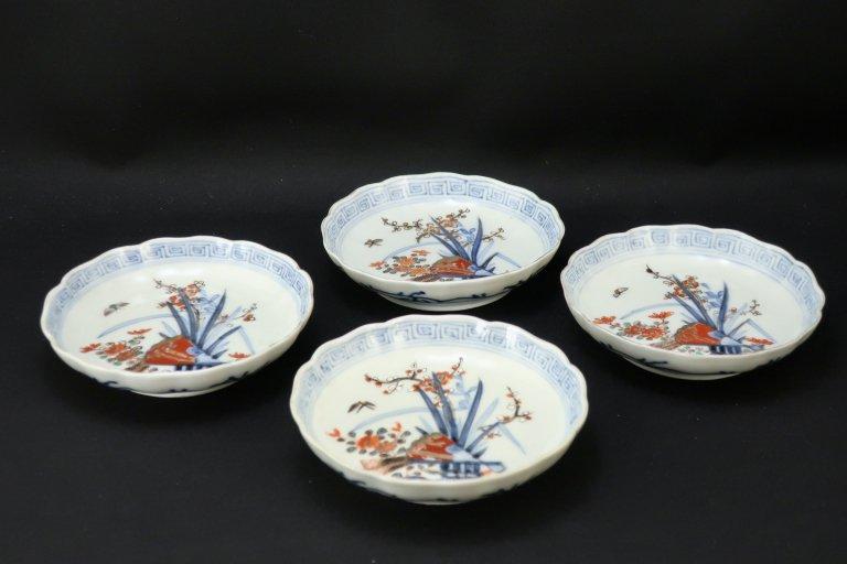伊万里色絵扇面四君子文四寸皿 四枚組 / Imari Small Polychrome Bowls  set of 4