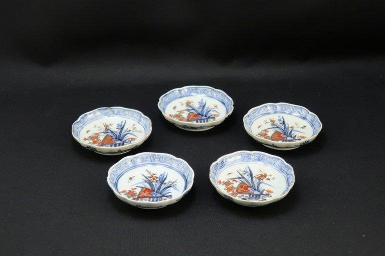伊万里色絵扇面四君子文豆皿 五枚組 / Imari Small Polychrome Plates set of 5
