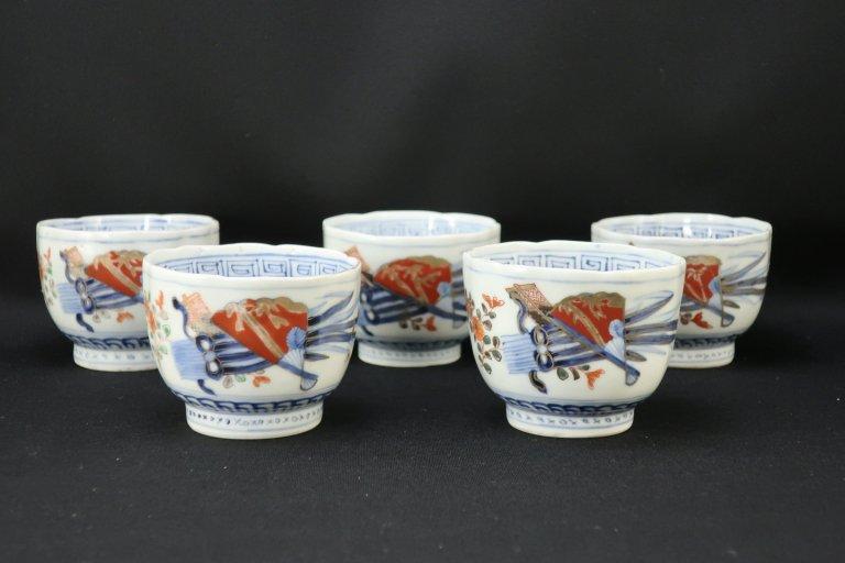 伊万里色絵扇面四君子文向付 五客組 / Imari Polychrome 'Mukoduke' Cups  set of 5
