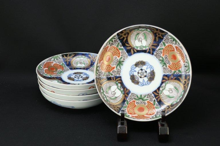 伊万里色絵松竹梅文五寸半皿 五枚組 / Imari Polychrome Plates  set of 5