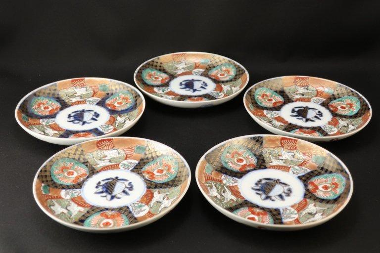 伊万里色絵鶴文五寸皿 五枚組 / Imari Polychrome Plates  set of 5