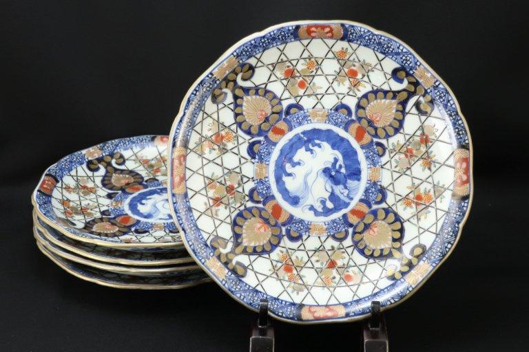 伊万里色絵龍籠目文七寸皿 五枚組 / Imari Polychrome Plates  set of 5