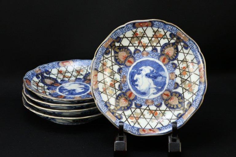 伊万里色絵龍籠目文五寸皿 五枚組 / Imari Polychrome Plates  set of 5