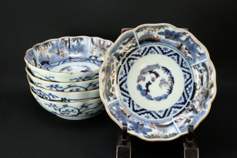 伊万里龍松竹梅文なます皿 五枚組  / Imari Polychrome 'Namasu' Bowls  set of 5