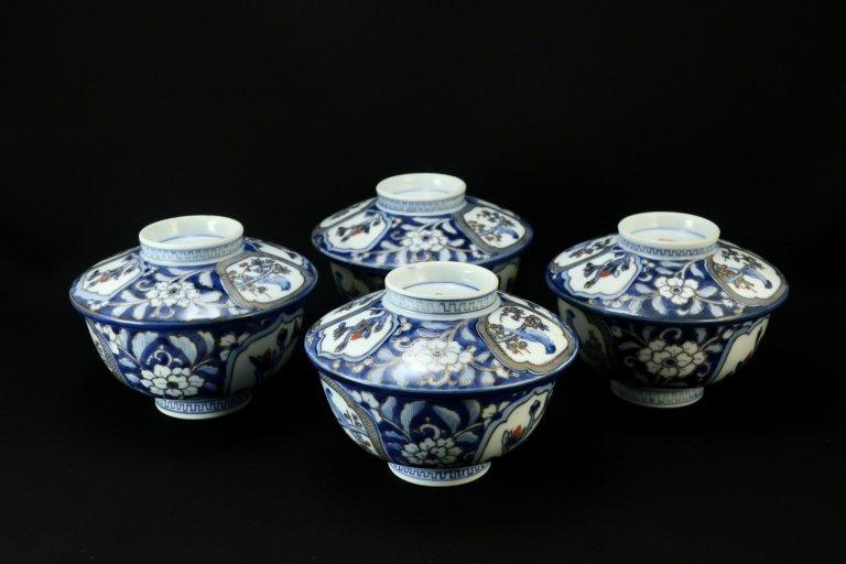 伊万里色絵花鳥文蓋茶碗 四客組 / Imari Polychrome Bowls with Lids  set of 4