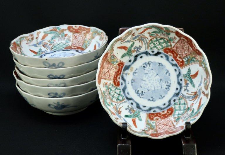 伊万里色絵桐鳳凰文なます皿 六枚組 / Imari Polychrome 'Namasu' Bowls  set of 6