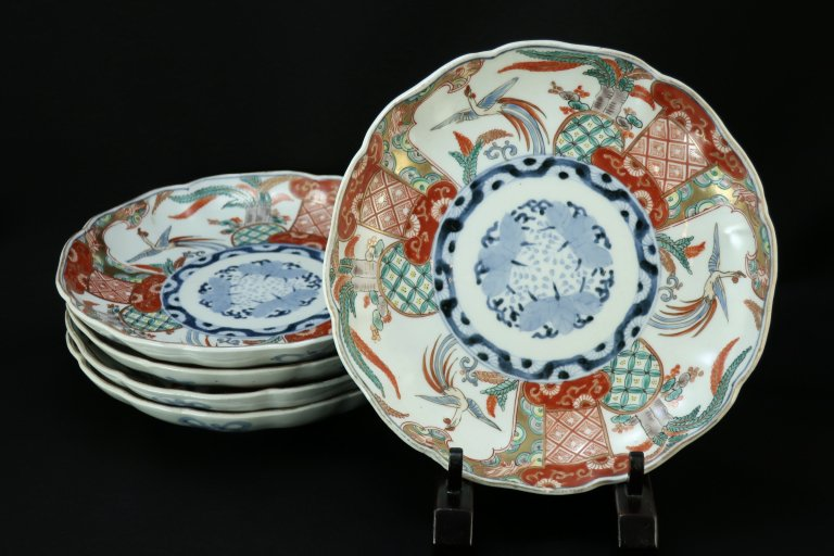 伊万里色絵桐鳳凰文七寸皿 五枚組 / Imari Polychrome Plates  set of 5