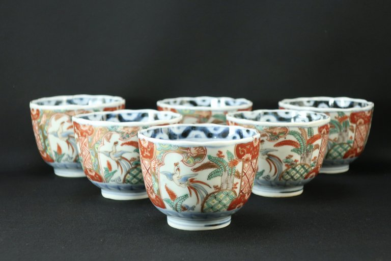 伊万里色絵桐鳳凰文向付 六客組 / Imari Polychrome 'Mukoduke' Cups  set of 6
