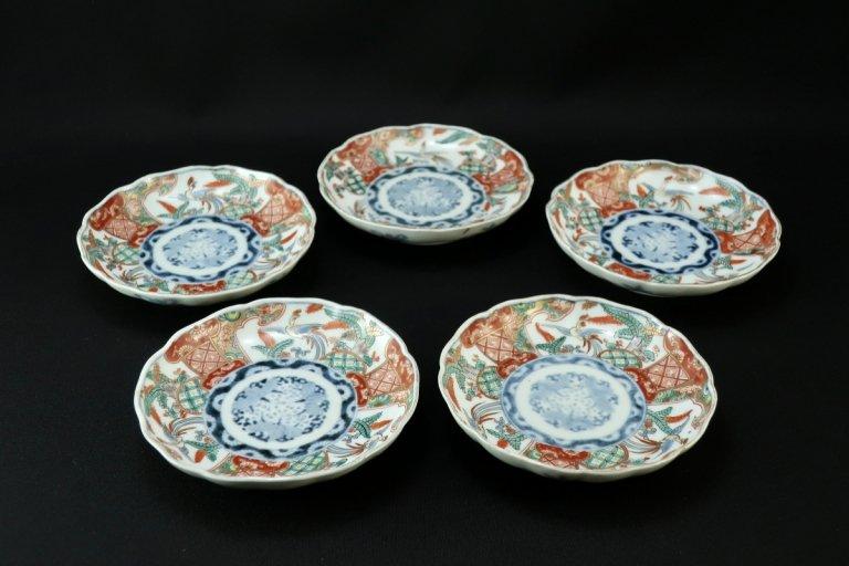 伊万里桐鳳凰文四寸皿 五枚組 / Imari Small Polychrome Plates  set of 5
