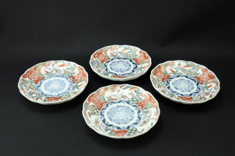 伊万里桐鳳凰文四寸皿 四枚組 / Imari Small Polychrome Plates  set of 4
