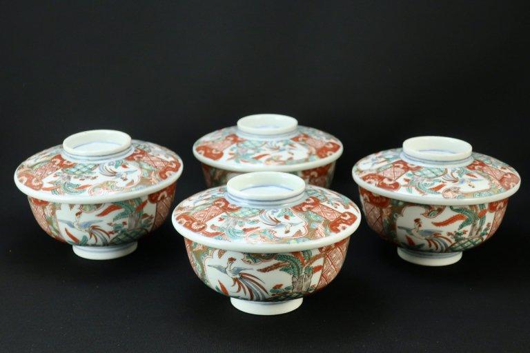 伊万里桐鳳凰文蓋茶碗 四客組 / Imari Polychrome Bowls with Lids  set of 4