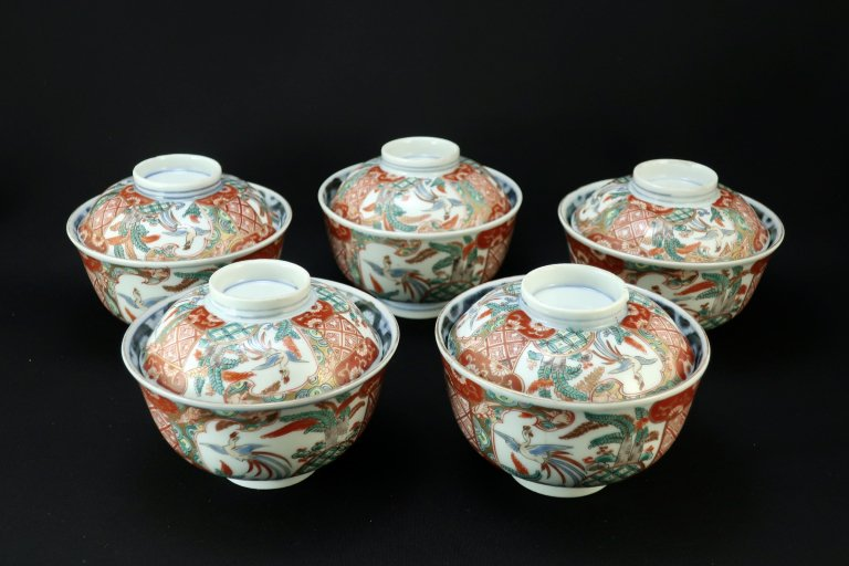 伊万里桐鳳凰文蓋茶碗 五客組 / Imari Polychrome Bowls with Lids  set of 5