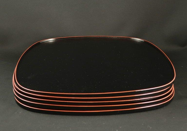 越前塗折敷 五枚組 / Echizen-lacquered Trays  set of 5