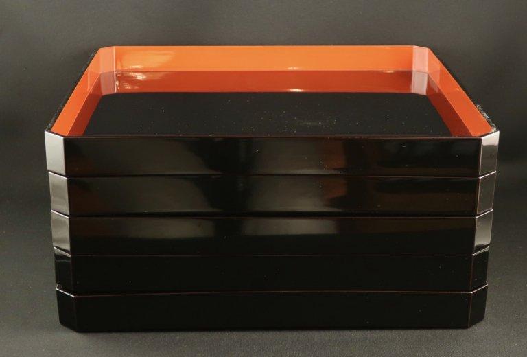 真塗会席膳 五枚組 / Black-lacquered Trays  set of 5