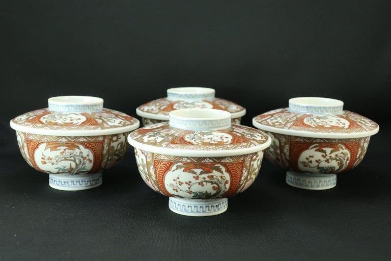 伊万里色絵蒸茶碗 四客組 / Imari Polychrome Bowls with Lids  set of 4