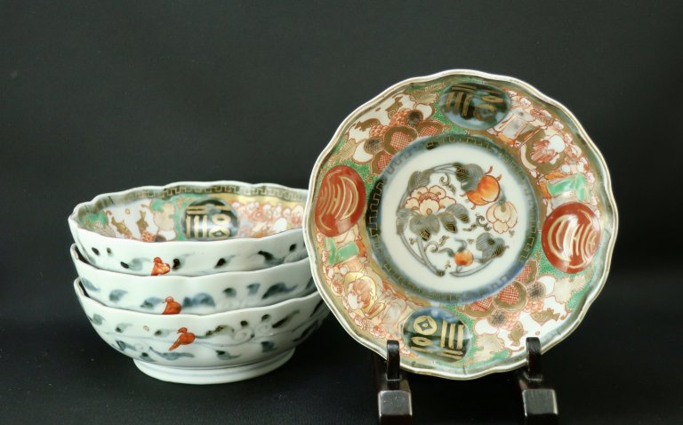 伊万里色絵なます皿 四枚組 / Imari Polychrome 'Namasu' Bowls  set of 4