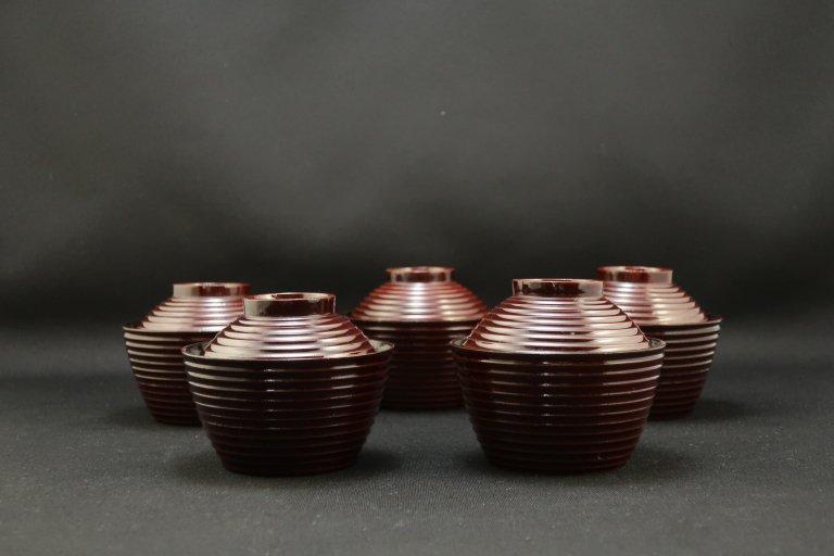 栗色小型吸物椀 五客組 / Small Lacquered Soup Bowls with Lids  set of 5