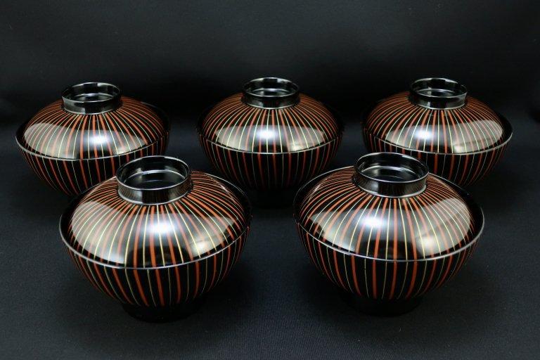 黒塗十草蒔絵吸物椀 五客組 / Black-lacquered  Soup Bowls with Lids  set of 5