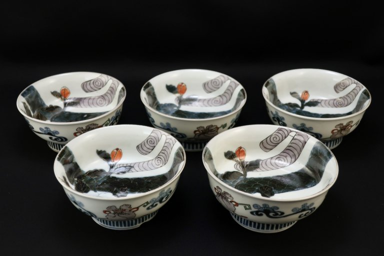 伊万里色絵椿の図小鉢 五客組 / Imari Polychrome Bowls with the picture of Camellia  set of 5