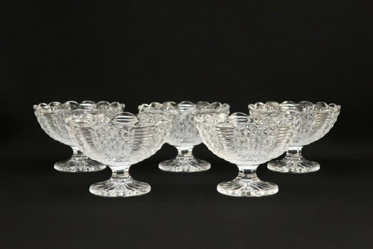 プレスガラスのデザートグラス 6客組