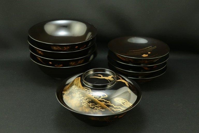黒塗鶴図変蒔絵椀 五客組 / Black-lacquered Bowls with Lids  set of 5