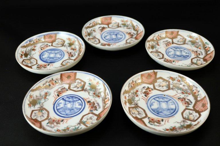 伊万里色絵桃亀甲文四寸皿 五枚組 / Imari Small Polychrome Plates  set of 5