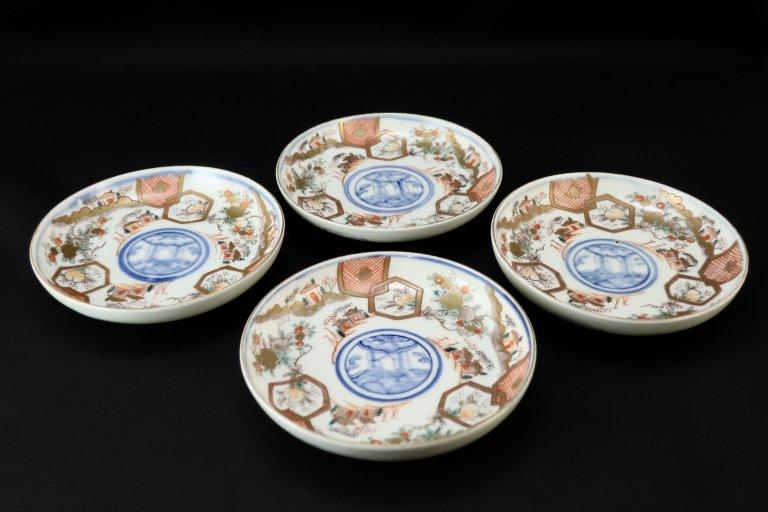 伊万里色絵桃亀甲文四寸皿 四枚組 / Imari Small Polychrome Plates  set of 4