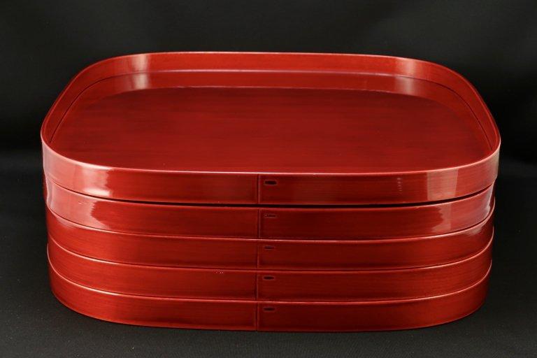 紅春慶膳 五枚組 / 'Shunkei' Lacquered Trays  set of 5