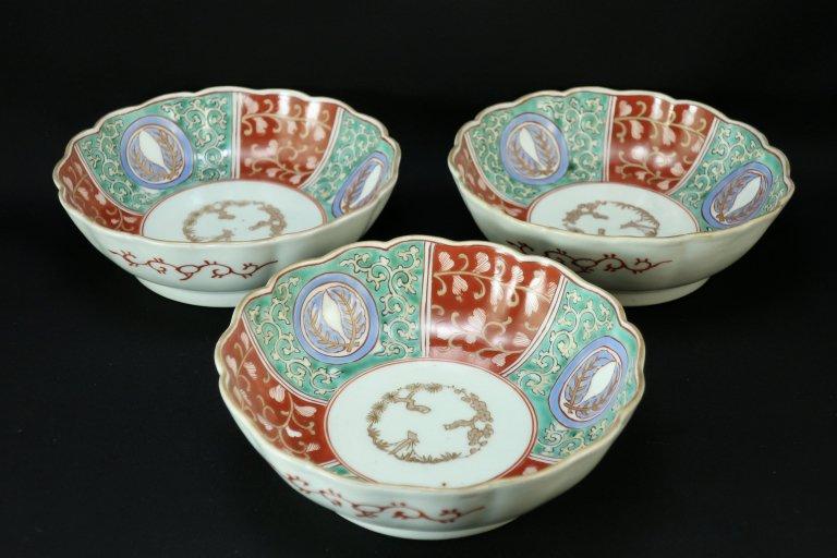 伊万里色絵唐草文なます皿 三枚組 / Imari Polychrome 'Namasu' Bowls  set of 3