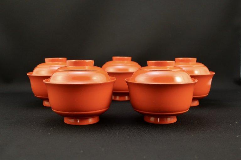 朱塗小吸物椀 五客組 / Red-lacquered Small soup bows with Lids  set of 5