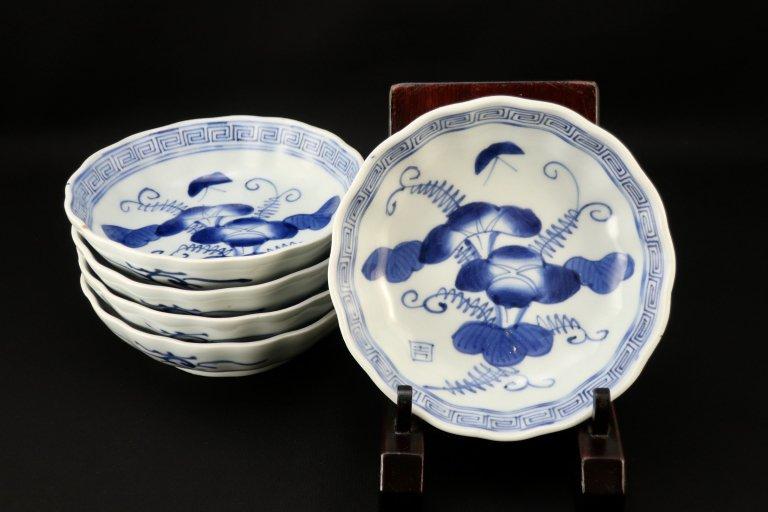 伊万里染付朝顔文なます皿 五枚組 / Imari Blue & White 'Namasu' Bowls with the picture of Morning Grlories  set of 5