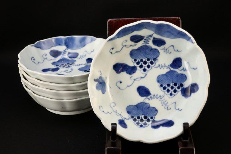 伊万里染付葡萄文なます皿 五枚組 / Imari Blue & White 'Namasu' Bowls with the picture of Grapes  set of 5