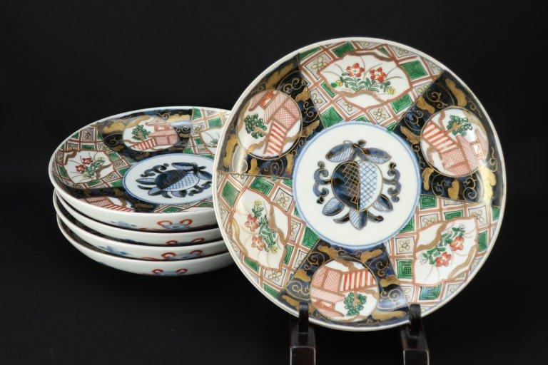 伊万里色絵石畳文六寸皿 五枚組 / Imari Polychrome Plates  set of 5