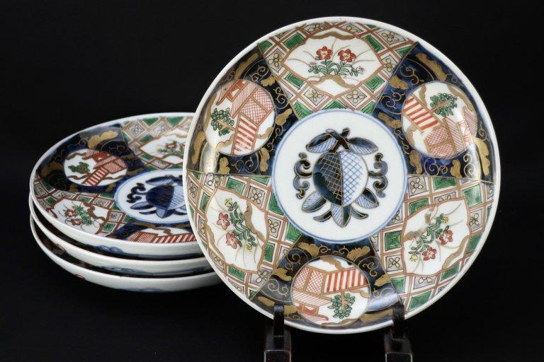 伊万里色絵石畳文六寸皿 四枚組 / Imari Polychrome Plates  set of 4
