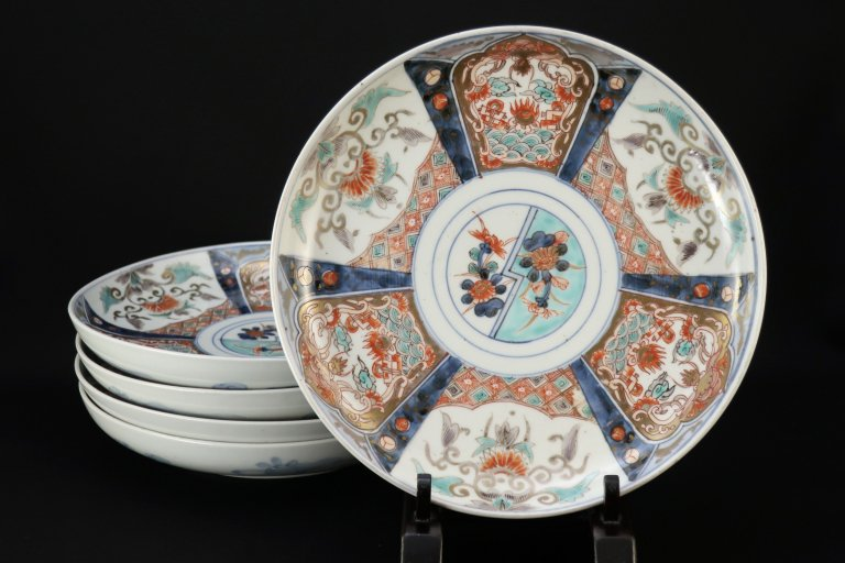 伊万里色絵菊花文七寸皿 五枚組 / Imari Polychrome Plates  set of 5