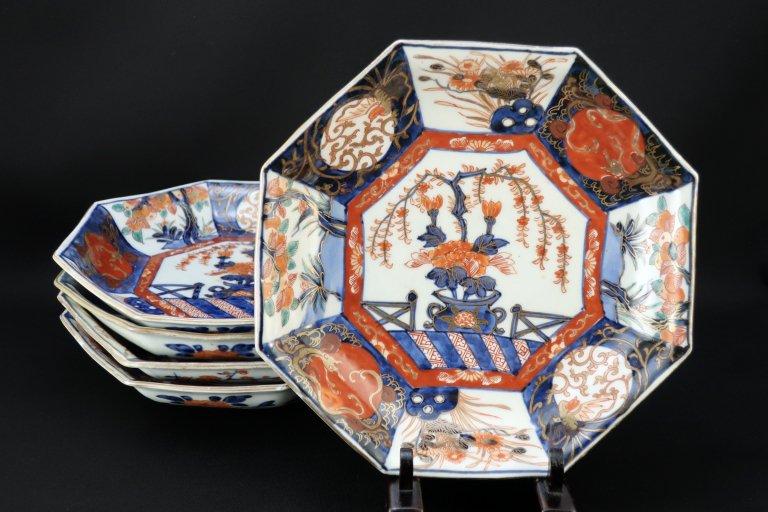 伊万里色絵八角花籠手平鉢 五客組 / Imari Octagonal Polychrome Bowls  set of 5