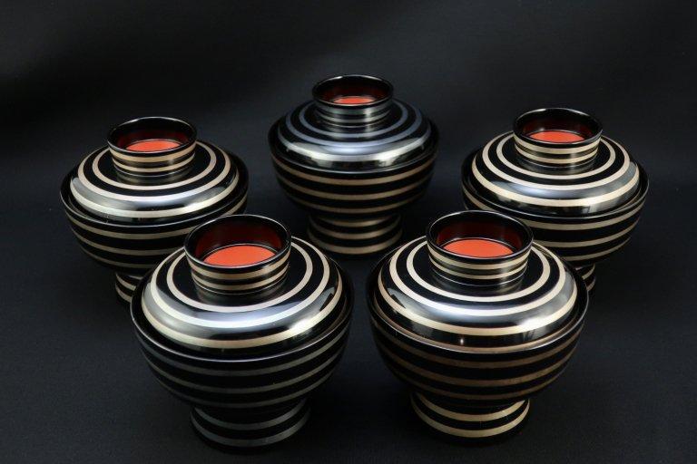 銀線高台椀 五客組 / Black-lacquered Soup Bowls with Lids  set of 5