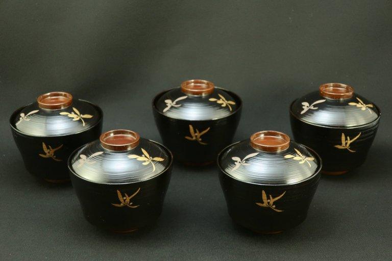 黒塗紫蘭蒔絵小吸物椀 五客組 / Black-lacquered Small Soup Bowls with Lids  set of 5