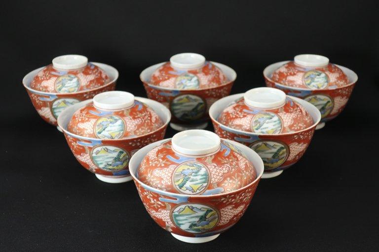 伊万里色絵蓋茶碗 六客組 / Imari Polychrome Bowls with Lids  set of 6