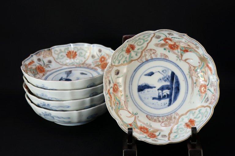 伊万里色絵鷺文なます皿 五枚組 / Imari Polychrome 'Namasu' Bowls with the picture of Herons  set of 5